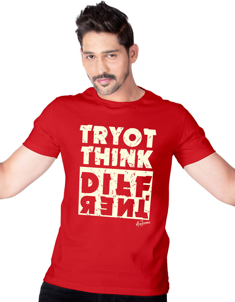 Try To Think Different - Red Men's Half Sleeve Printed T Shirt Model Front View