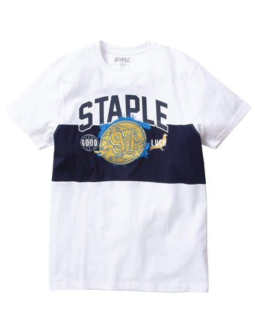 Gold Metal Embroidered Tee (White/Navy)