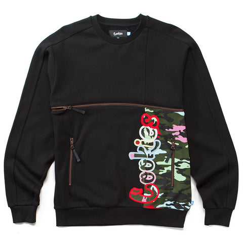 ESCOBAR PIECED FLEECE CREWNECK (Black)