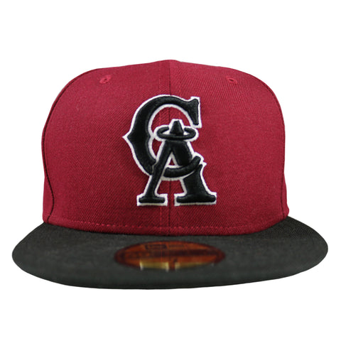 California Angels MLB 2 Tone 59Fifty Fitted Cap (Burgundy/Black)