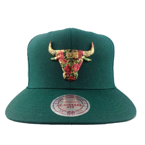 Chicago Bulls Floral Broach Snapback (Green)