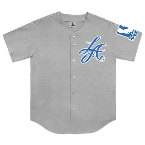L.A. Script Baseball Button Up Jersey (Gray)