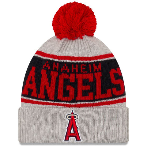 Los Angeles Angels New Era Gray Stripe Cuffed Knit Pom