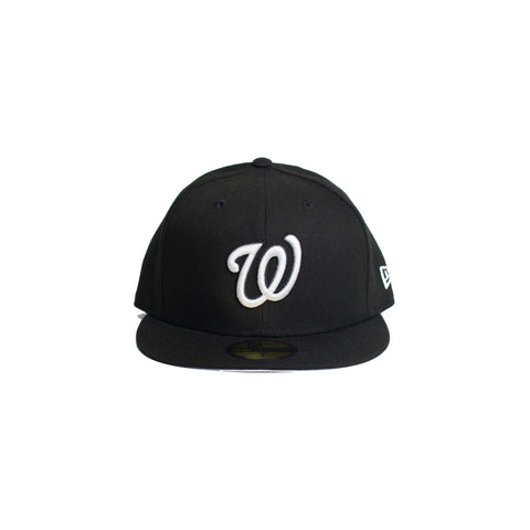 WASHINGTON NATIONALS BLACK ON WHITE 59FIFTY FITTED (Black)