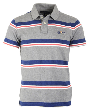 Polo Short Blue Grey Stripes