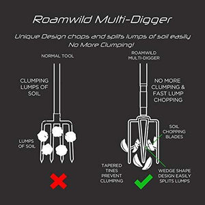 Roamwild Multi-Digger Garden Digging Spading Fork – Fibreglass Light Weight Gardening Fork with Unique Dual Soft AIR Light Grip Technology & Soil Lump Cutting Bladed Tines