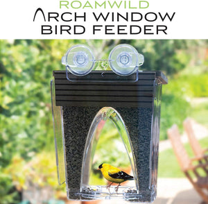 Roamwild Arch Window Wild Bird Feeder with Huge 4LBS Capacity & Ultra Strong Dual Suction Technology for Outdoors with Drainage Holes & Window Protectors