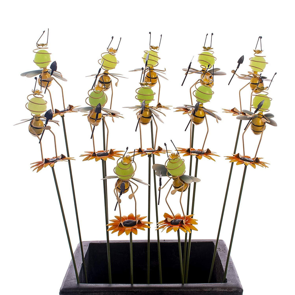 Bee Illumie Cuttie Stakes | 12x Glow in The Dark Pot Stake Assortment | Hand Painted for Indoor & Outdoor Use Garden Décor Yard Metallic