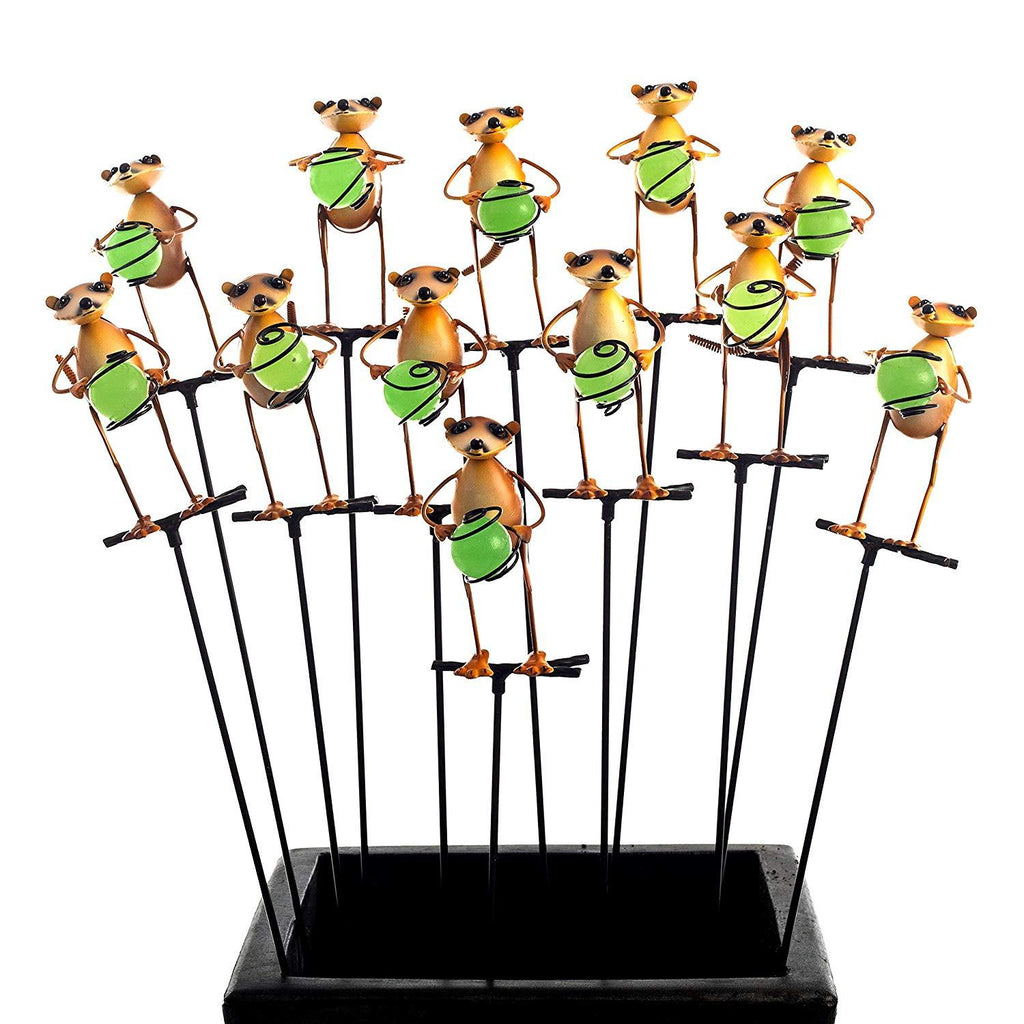 Meerkat Illumie Cuttie Stakes | 12x Glow in The Dark Pot Stake Assortment | Hand Painted for Indoor & Outdoor Use Garden Décor Yard Metallic