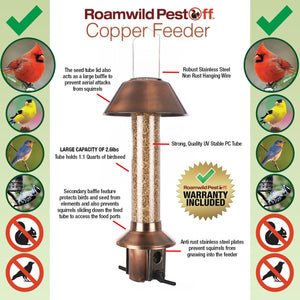 NEW Antique Copper Roamwild PestOff Feeder | Squirrel Proof Bird Feeder