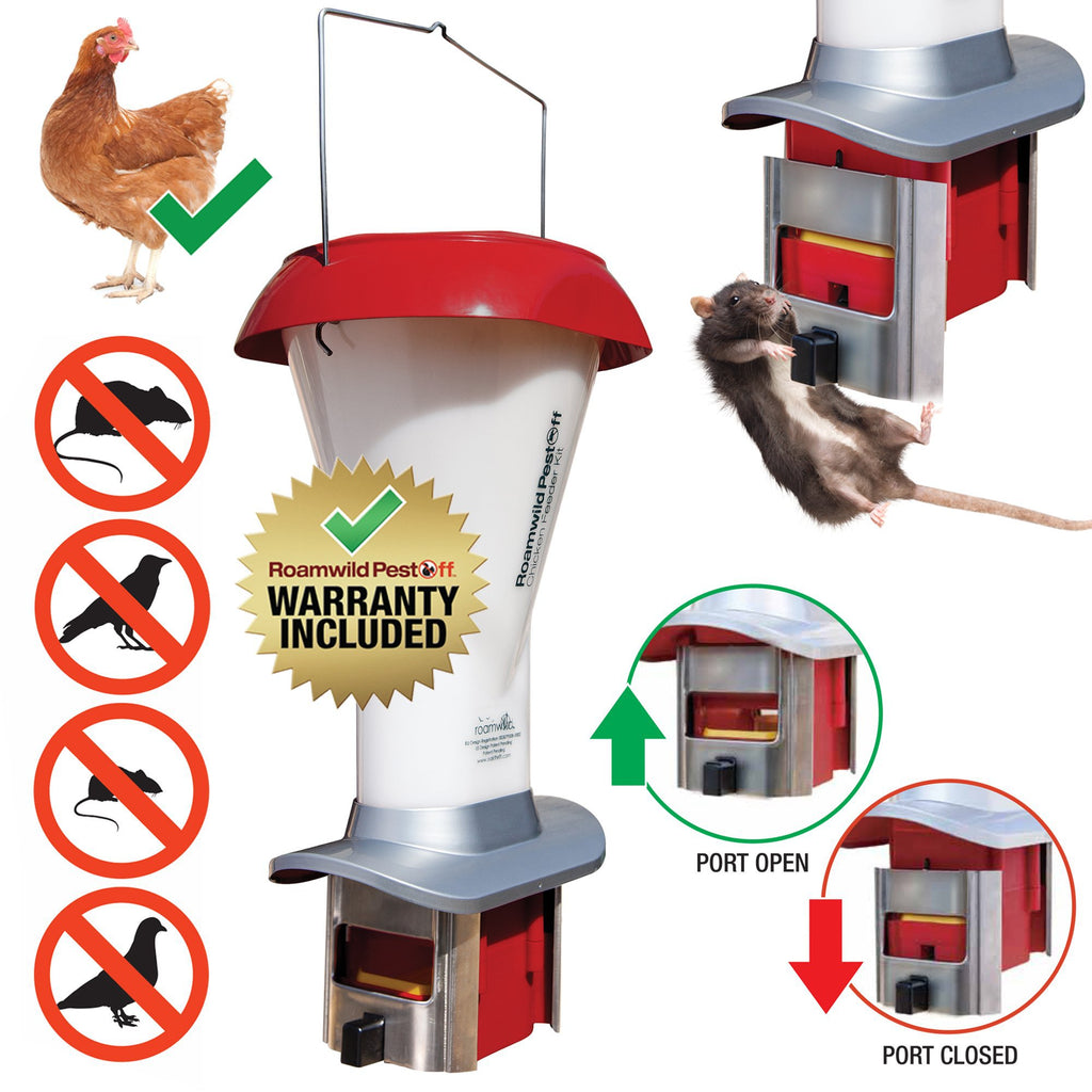 Roamwild PestOff Poultry Feeder Kit - Rat & Pest Proof Chicken Feeder – Weather Proof - 8.00lbs - New Product