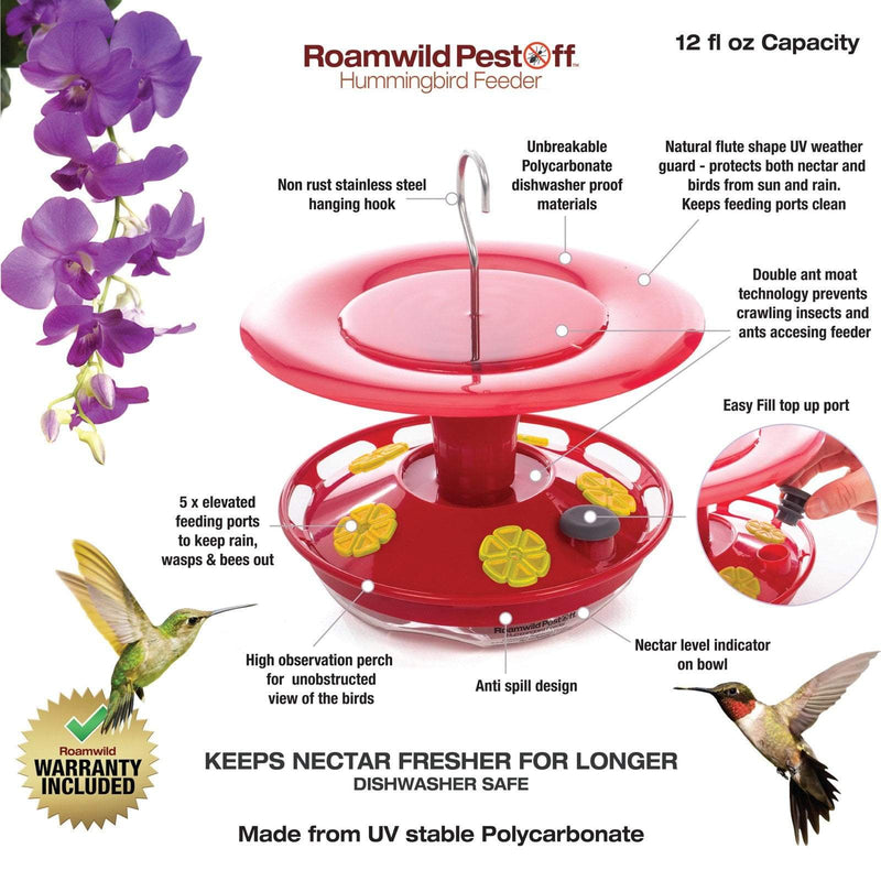 Roamwild Hanging Hummingbird Feeder with Double Moat Guard Technology