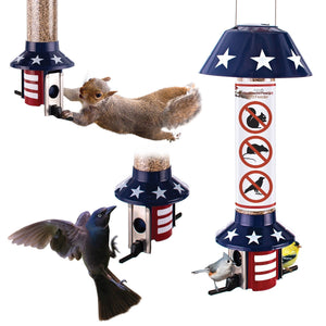 Roamwild PestOff Mixed Seed Squirrel Proof Bird Feeder - USA Flag Design