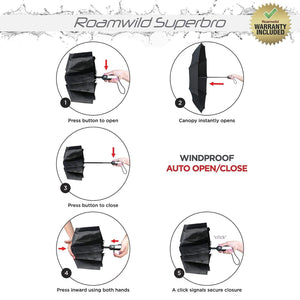 Roamwild SuperBRO Black Premium Teflon Fast Drying Automatic Compact Travel Folding Umbrella