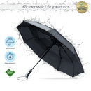 Roamwild SuperBRO Black Premium Teflon Fast Drying Vented Automatic Compact Travel Folding Umbrella