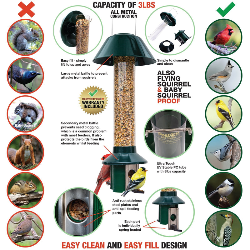 Roamwild PestOff Mixed Seed Squirrel Proof Bird Feeder - Green