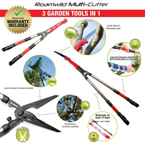 Roamwild Multi-Cutter | Garden Shears, Bypass Lopper & Pruning Saw | 3 Garden Tools in ONE