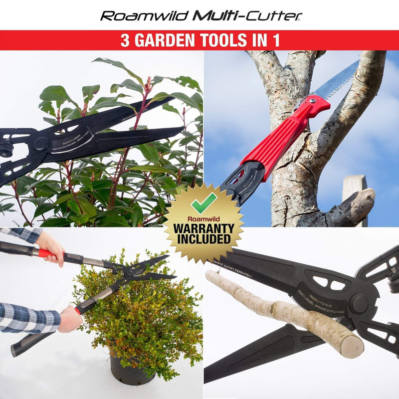 Roamwild Multi-Cutter | Garden Shears, Bypass Lopper & Pruning Saw | 3 Garden Tools in 1