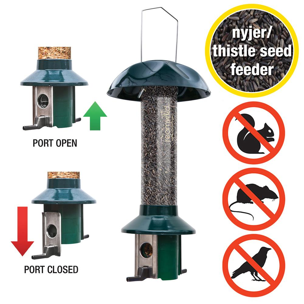 Roamwild PestOff Nyjer Squirrel Proof Bird Feeder - Green