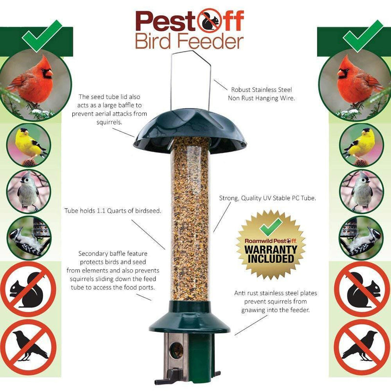 Roamwild PestOff Peanut Squirrel Proof Bird Feeder - Green