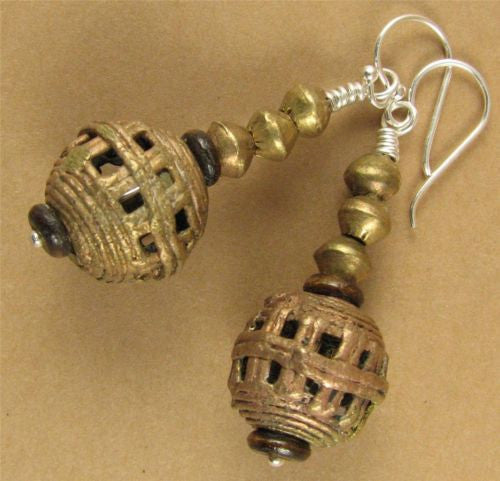 Large African bead earrings. Copper / brass. Sterling silver. Handmade.