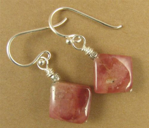 Red aventurine earrings. Salmon / pink/ peach. Diamond/square. Sterling silver.