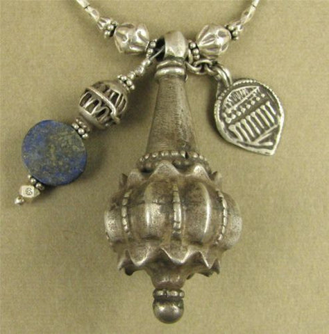 Antique silver tribal necklace. Lapis. Long. Fine & sterling silver. Handmade