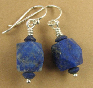 Lapis lazuli earrings. Unpolished. Multi-cut. Sterling silver hooks.