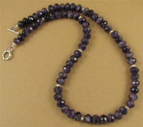 Amethyst necklace and earrings set. Fine & sterling silver. Handmade.