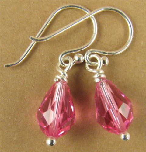 Crystal rose/pink teardrop earrings made w/ Swarovski elements. Sterling silver