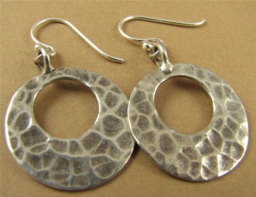 Large silver hammered disc / hoop  earrings. Fine & sterling silver.