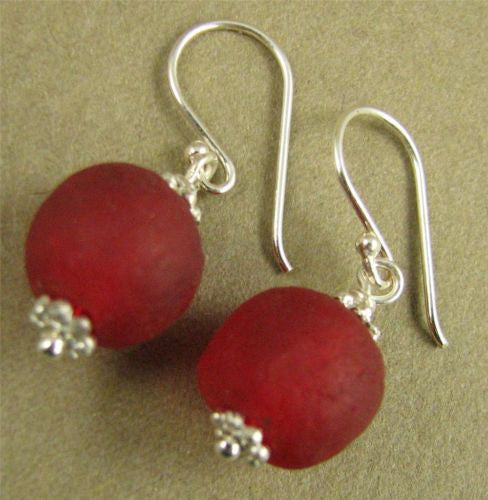Red African glass bead and sterling silver earrings. Designer handmade.