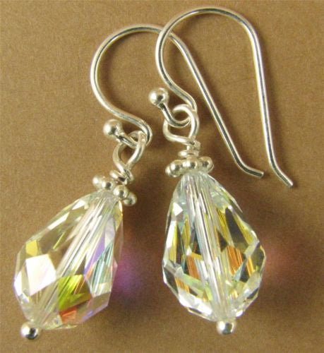 Aurora borealis small teardrop earrings w/Swarovski elements. Sterling silver.