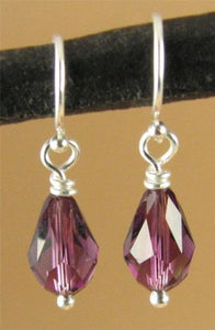 Crystal 'amethyst' teardrop earrings, made w/swarovski elements.Sterling silver.
