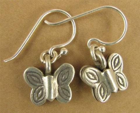 Butterfly earrings. Fine silver. Sterling silver hooks. Dangle.