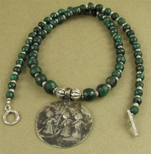 Emerald and old tribal silver necklace. Amulet.Fine & sterling silver. Handmade