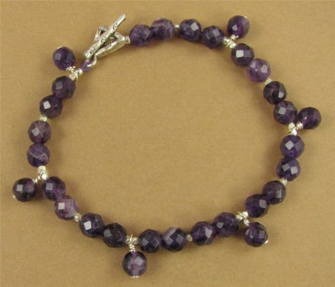 Amethyst bracelet with dangles.  Fine and sterling silver. Handmade.