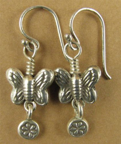 Small butterfly earrings with flower dangle. Fine & sterling silver.  Handmade.