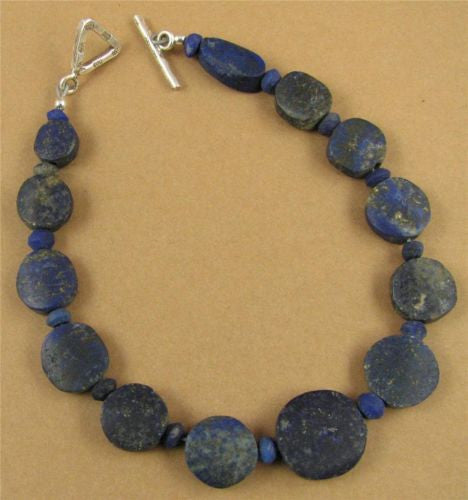 Lapis lazuli bracelet. Unpolished. Round. Fine and sterling silver. Handmade