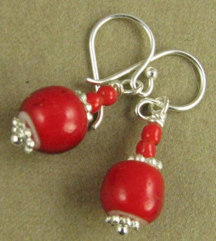 Bright red African glass bead earrings. Sterling silver. Designer handmade.