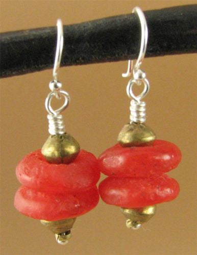 Large African bead earrings. Brass/glass. Red/orange. Sterling silver. Handmade.