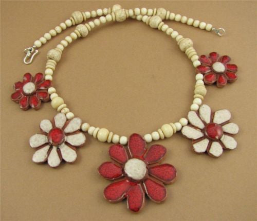 Large flower necklace. Red and white. Ceramic. Sterling silver. Handmade.