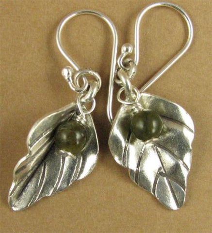 Leaf and vesuvianite bead earrings. Fine and sterling silver. Handmade