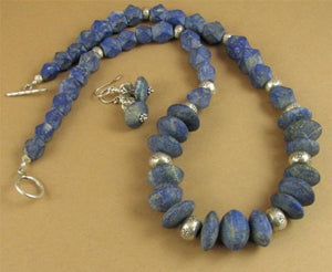 Lapis lazuli necklace & earrings set. Chunky.Unpolished. Fine & sterling silver.