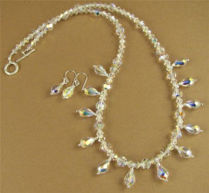 Aurora borealis necklace & earrings with swarovski elements & sterling silver.