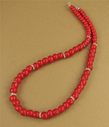 Bright red necklace. African beads. Fine & sterling silver. Handmade.