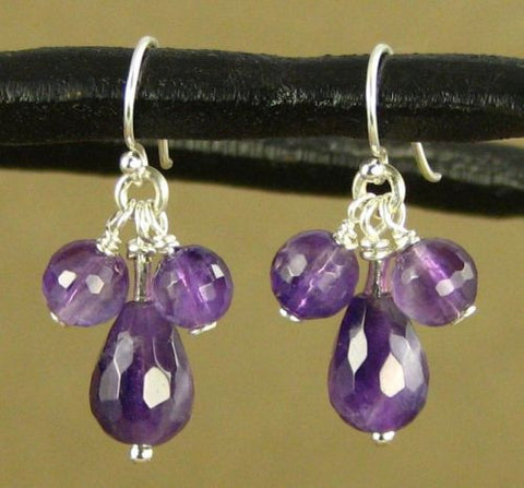 Amethyst cluster and sterling silver earrings. Teardrop. Designer handmade.