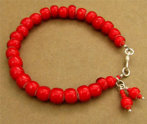 Bright red African glass bead bracelet. Dangle. Fine & sterling silver. Handmade