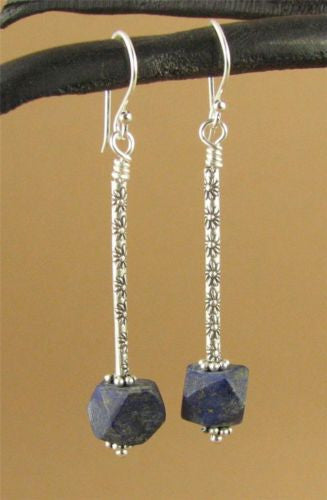 Long drop earrings with lapis lazuli. Flowers. Fine & sterling silver. Handmade.