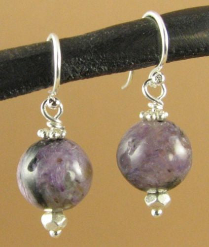 Charoite and silver purple earrings. Fine and sterling silver. Handmade.